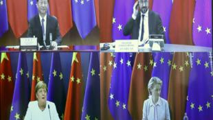 Xi Jinping, Charles Michel, Angela Merkel et Ursula von der Leyen lors du sommet par visioconférence UE-Chine, le 14 septembre