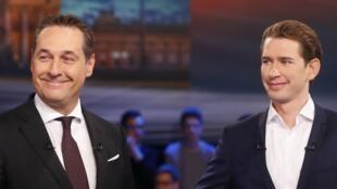 Heinz-Christian Strache (L) Sebastian Kurz (R) interviewed on television in Vienna, 12 October 2017.