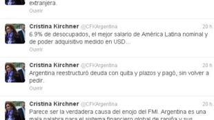 El twitter de la Presidenta, principal tribuna de sus reclamos en contra del FMI