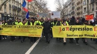 Les «gilets jaunes» en route vers Bastille pour l'acte XI de leur mobilisation. Paris, samedi 26 janvier 2019.