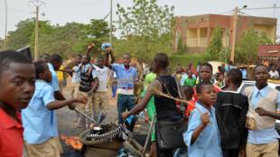 Manifestation de lycéens et d'étudiants pour exiger de meilleures conditions d'études à Niamey, le 30 avril 2014.