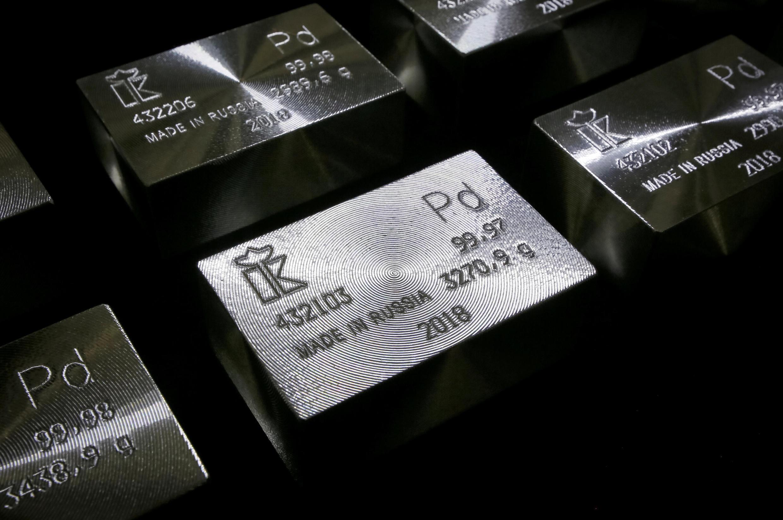 Lingot de palladium pur à 99,98%.
