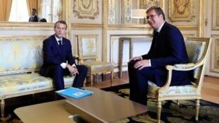 Emmanuel Macron et Aleksandar Vucic, ici le 17 juillet 2018 à l'Elysée.