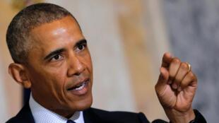 Barack Obama après sa réunion avec ses conseillers en sécurité nationale, à Washington, le 14 juin 2016.