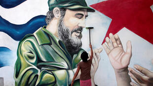 Ảnh vẽ Fidel Castro tại một khu chợ ở Managua, Nicaragua, 27/11/2016