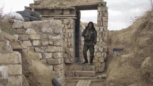 Un soldat arménien sur la ligne de front, le 21 octobre 2020.