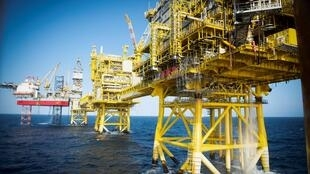 A heavy carbon footprint: an oil drilling platform in the North Sea off the Scottish city of Aberdeen.