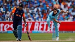 England's Chris Woakes in action at the ICC Cricket World Cup at the England v India match 30 June, 2019