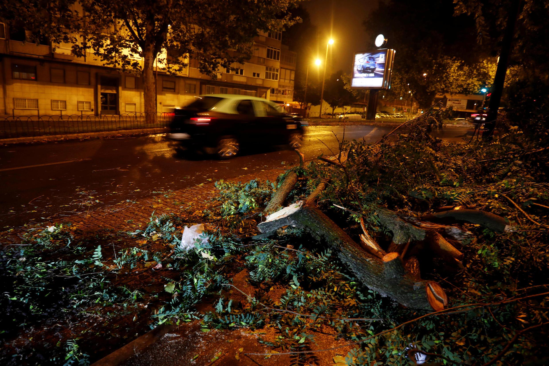 Ramas de árboles en una calle del barrio Benfica en Lisboa. Un recuerdo del paso del huracán Leslie. Portugal, 14 de octubre de 2018.