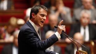 Manuel Valls discursa no dia do voto de confiança do Parlamento (08/04).