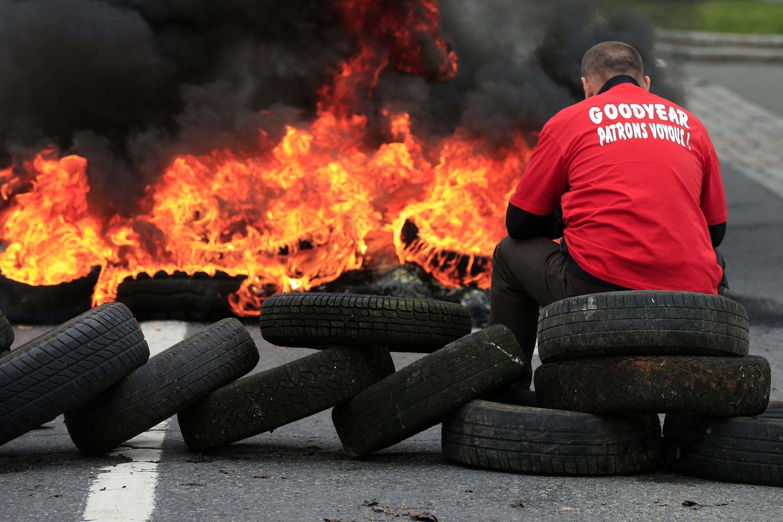 Забастовка на шинном заводе Goodyear в Амьене.