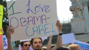"""Manifestación a favor del """"Obamacare"""" en Washington."""