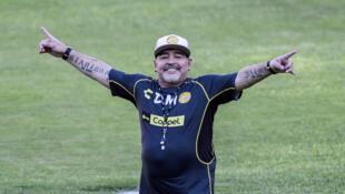 Diego Maradona en su primer sesión de entrenamiento con los Dorados, el 10 de septiembre de 2018 en Culiacán, México