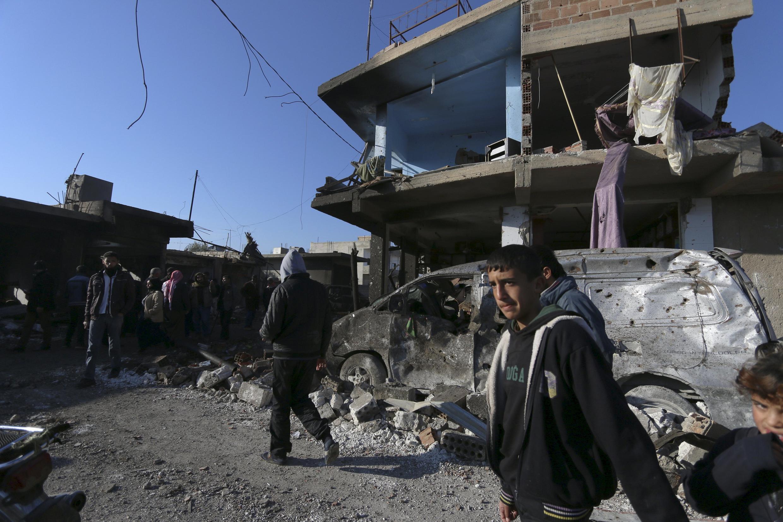 Một khu phố ở Syria sau trận bom ngày 11/12/2015.