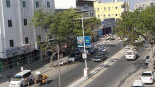 Newly constructed buildings and roads in Mogadishu, Somalia