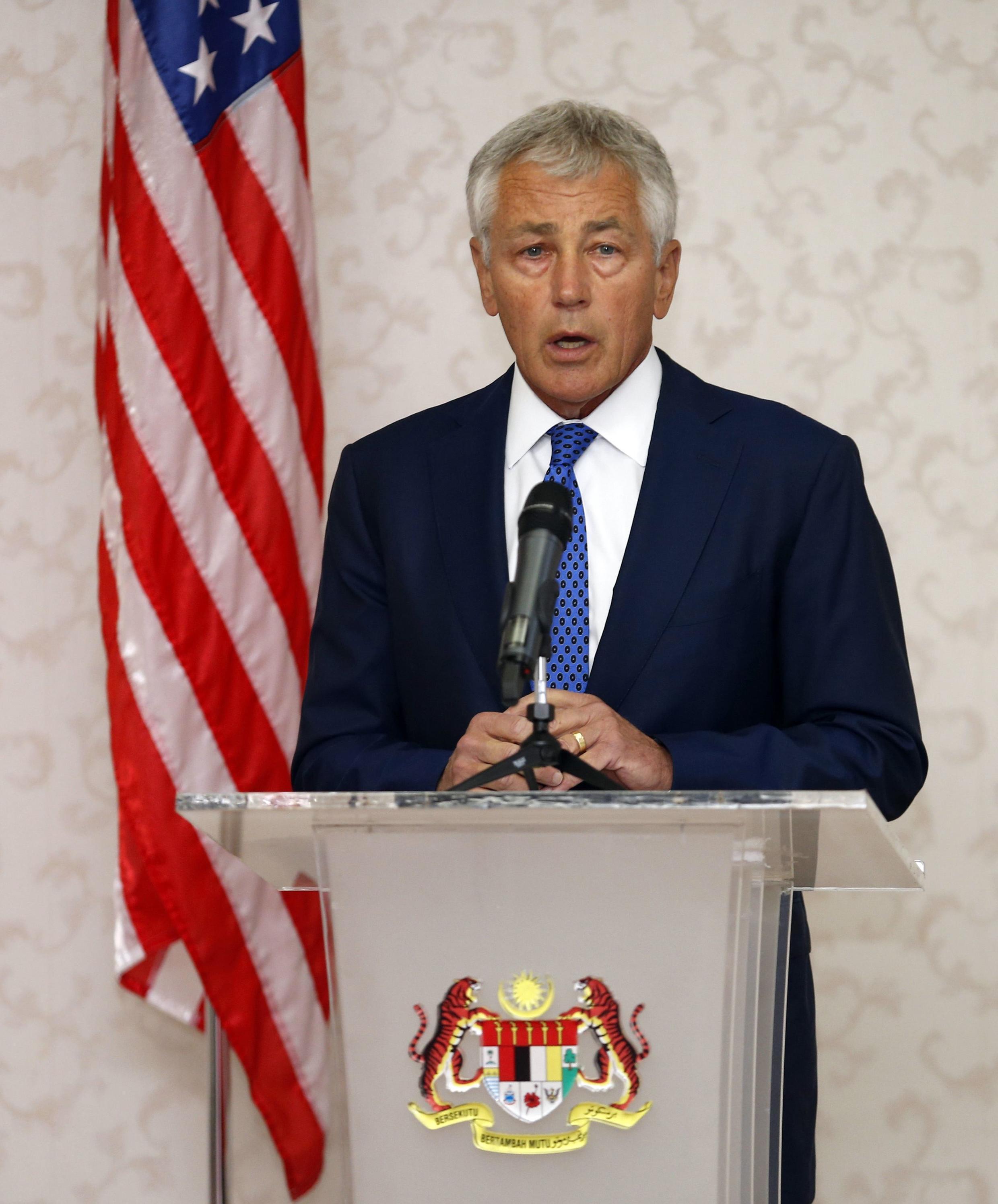 Bộ trưởng Quốc phòng Mỹ Chuck Hagel trong buổi họp báo với người đồng nhiệm Malaysia tại Kuala Lumpur hôm 25/08/2013.