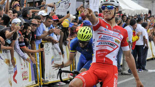 Ciclista colombiano Miguel Flórez al ganar la 8va etapa de la Vuelta al Táchira 2019 (Venezuela)