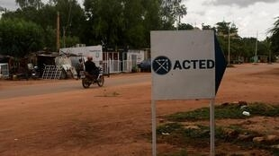 A sign showing office of NGO Acted in Niamey, Niger