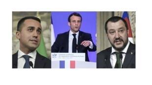 Luigi Di maio, Emmanuel Macron y Matteo Salvini.