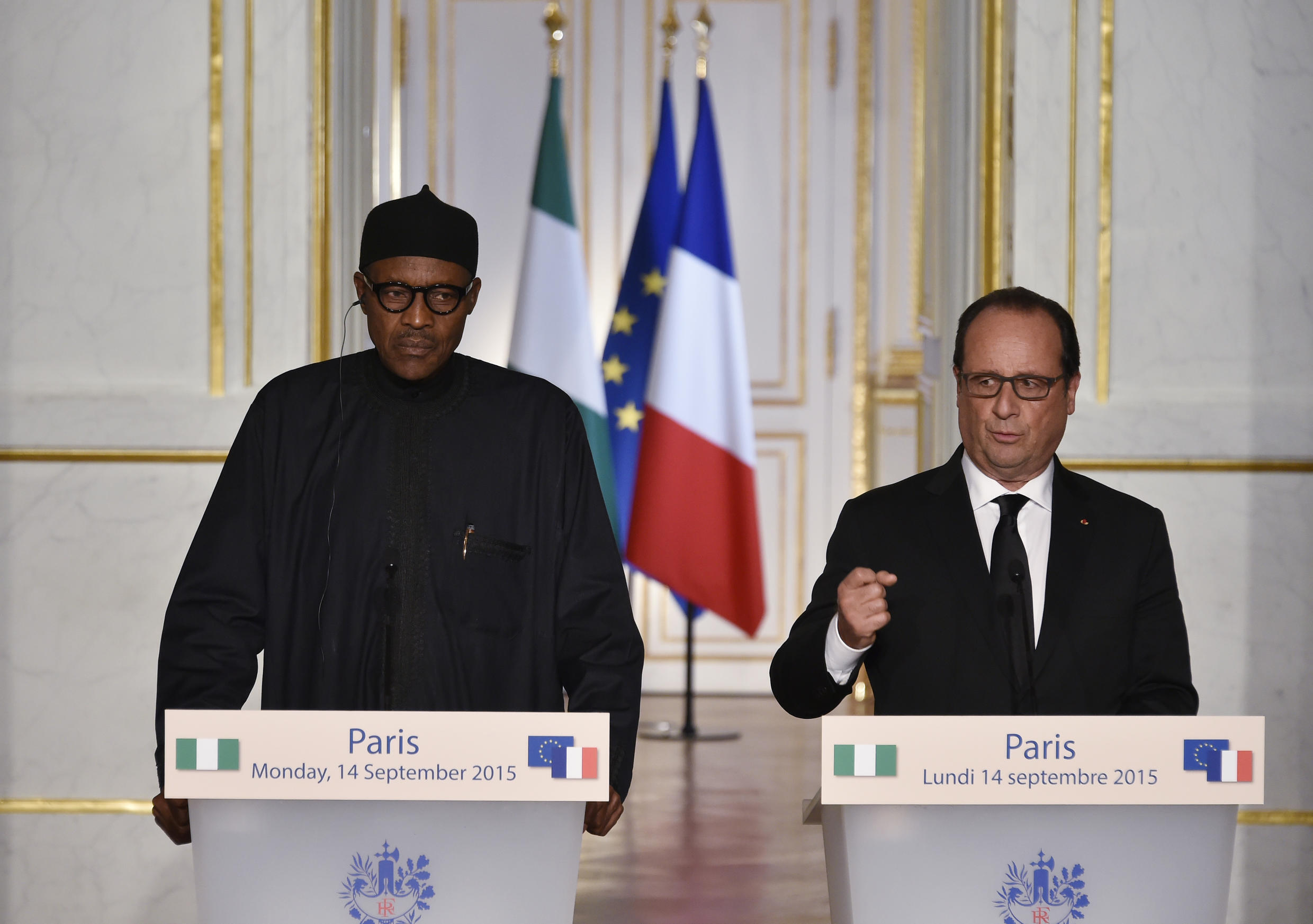 """French President François Hollande at the press conference with Nigeria's Muhammadu Buhari where he announced that air strikes on Syria were """"necessary"""""""