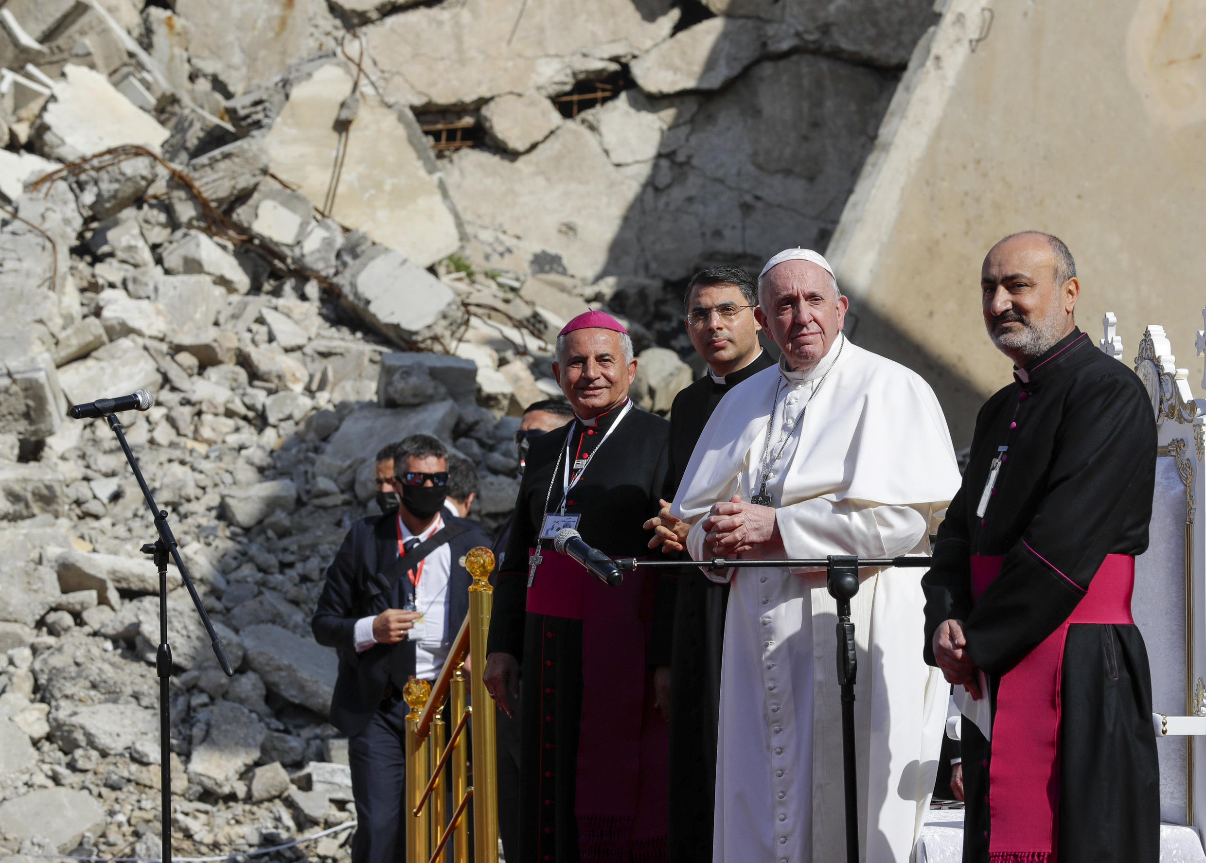 Pope Francis attends a prayer for the victims of the Mosul war_7 March 2021_AP_Andrew Medichini
