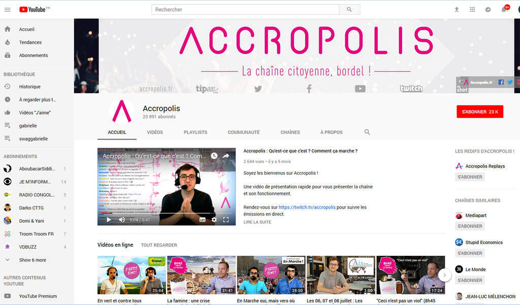 Capture d'ecran de la chaine Accropolis sur Youtube
