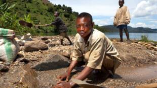 Lavage du coltan au bord du Lac Kivu, en République démocratique du Congo.