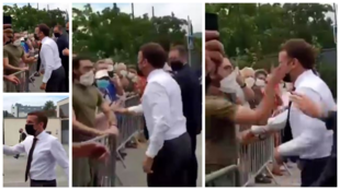 Presidente Emmanuel Macron recebe bofetada em público