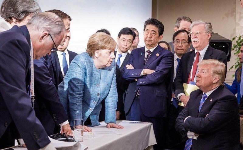 德國總理默克爾發布的G7峰會照片