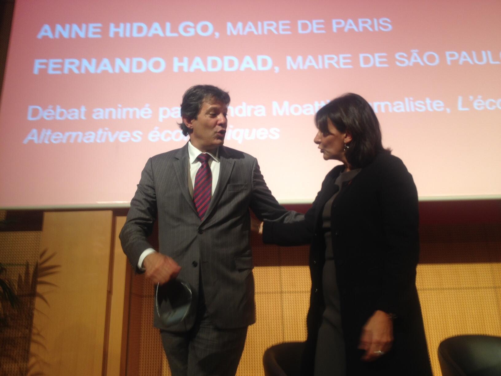 Fernando Haddad e a prefeita de Paris, Anne Hidalgo.