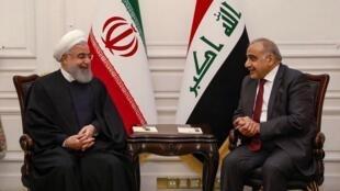 Le 11 mars dernier, le Premier ministre irakien Adel Abdul Mahdi (d) recevait le président iranien Hassan Rohani, à Bagdad.