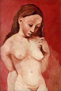 """""""Desnudo sobre fondo rojo"""", Pablo Picasso."""