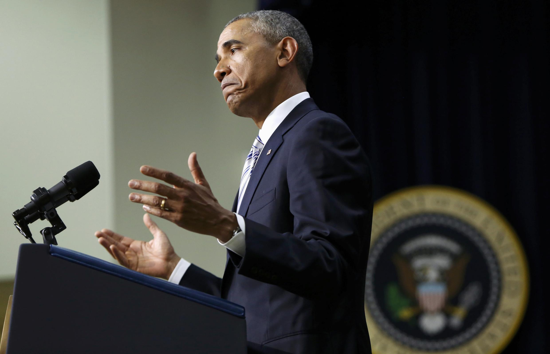 O presidente americano Barack Obama durante seu discurso na Casa Branca em Washington, nesta quarta-feira, dia 18 de fevereiro de 2015.