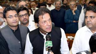 Imran Khan, à l'Assemblée nationale, ce vendredi 17 août 2018, après son élection officielle au poste de Premier ministre.