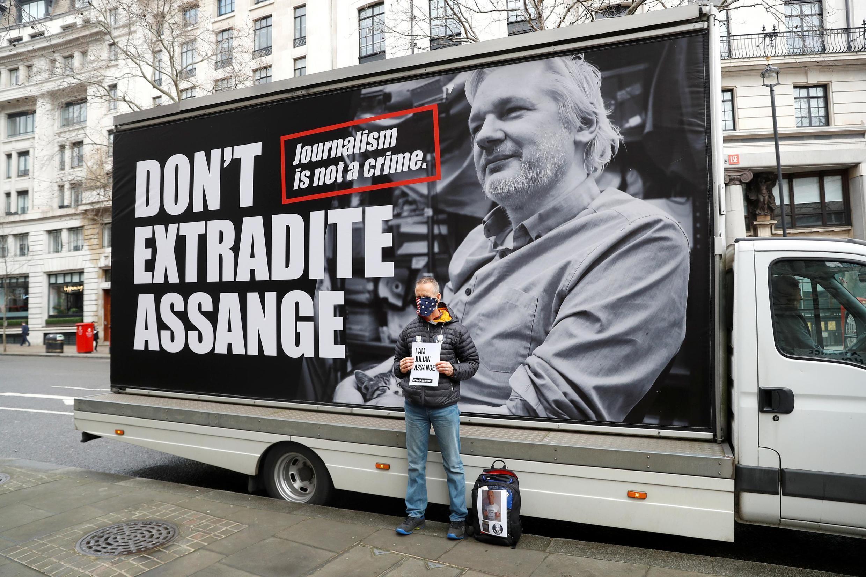 Manifestation contre l'extradition de Julian Assange à Londres, en février 2020.