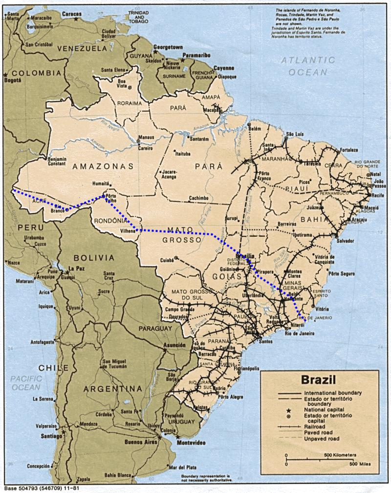 Mapa Ferroviário do Brasil destacando a Ferrovia Transoceanica.