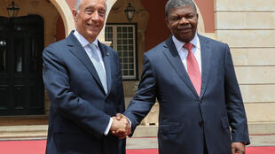 Marcelo Rebelo de Sousa e João Lourenço, no Palácio Presidencial em Luanda, 6/03/2019.