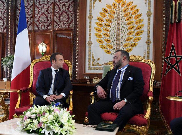 马克龙与摩洛哥国王穆罕默德六世举行会谈。2017-06-14
