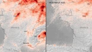 Ces images, utilisant les données du satellite Copernicus Sentinel-5P, montrent les concentrations moyennes de dioxyde d'azote du 14 au 25 mars 2020, par rapport aux concentrations moyennes mensuelles de 2019.