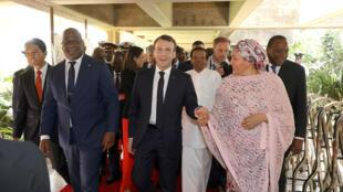 Le président français Emmanuel Macron à Nairobi, avec le président congolais, Félix Tshisekedi et Amina Mohammed, vice-secrétaire générale de l'ONU, ainsi que le président malgache Andry Rajoelina, et le président kényan, Uhuru Kenyatta. Le 14 mars 2019.