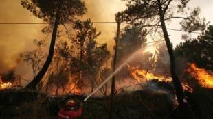 D'autres foyers d'incendie se sont déclarés au Portugal, comme ici à Chas de Tavares, le 10 août 2010.