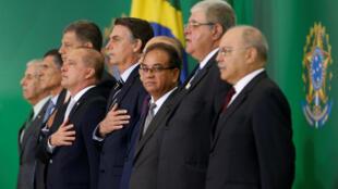 Tổng thống Brazil Jair Bolsonaro (G) trong lễ nhậm chức các tân bộ trưởng, ngày 02/01/209.