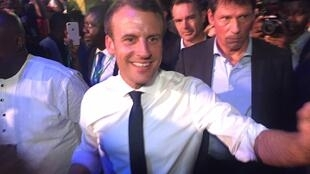 French President Emmanuel Macron arrives at the Afrika Shrine nightclub in Nigeria's commercial capital Lagos, July 3, 2018.
