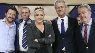 Marine Le Pen with Matteo Salvini (Northern League, Italy), Harald Vilimsky (FPÖ, Austria), Geert Wilders (PVV, Netherlands) Gerolf Annemans (VB, Belgium)