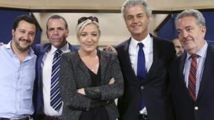L to R: Matteo Salvini (Italy), Harald Vilimsky (Austria), Marine Le Pen, Geert Wilders (Netherlands), Gerolf Annemans (Belgium)