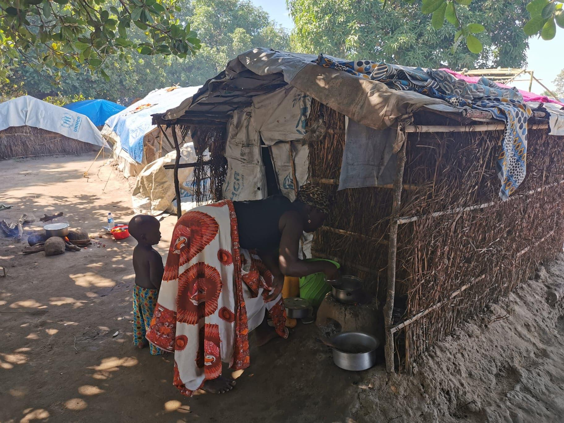 Internally displaced people in the Cabo Delgado area in Mozambique struggle to survive in camps where there are no facilities.