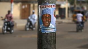 Affiche de soutien pour le candidat Muhammadu Buhari à Kano, le 27 mars 2015.