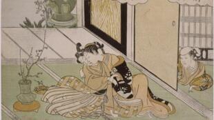 Suzuki Harunobu (vers 1725-1770). Deux amants épiés par une servante. Époque d'Edo, vers 1765. Impression polychrome, 20,8 x 28,7 cm. Paris, Musée national des arts asiatiques – Guimet, don Ernest Chausson, 1894.