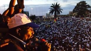 Sidya Touré, lors du meeting de mercredi 7 octobre à Conakry.