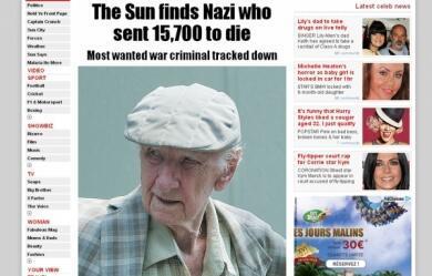 """Laszlo Csatary foi localizado por jornalistas do """"The Sun"""", conforme reportagem publicada neste domingo 15 de julho de 2012."""